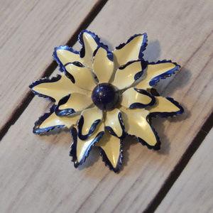 vtg Germany white blue enamel flower brooch pin